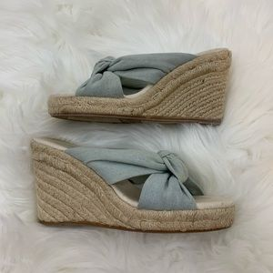 Soludos wedges blue linen tie front 6